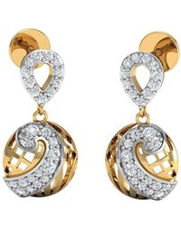 Diamoire Jewels - 50 Premium Round Cut Diamonds And 10kt Yellow Gold Pave Earrings - Lyst