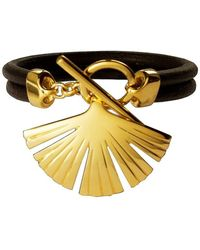 Stefano Salvetti - Gold Plated Bracelet With Leather In Bronze - Lyst