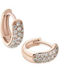 Verifine London 18kt Rose Gold 3-row Diamond Huggie Earrings - Metallic