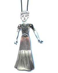 Toosis - Sterling Silver Lady Puppet Necklace With Enamel - Lyst