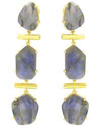 Noyre Berlin Labradorite Gold Plated Long Earrings - Metallic