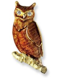 Nicole Barr 18kt Gold Owl Brown Brooch - Multicolour