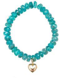 Heather Kenealy Jewelry - Apatite Bracelet With Heart Charm - Lyst