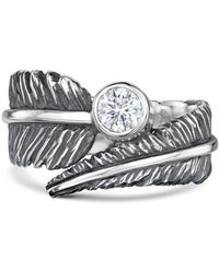 Becky Rowe - Sterling Silver & Cubic Zirconia Feather Ring | - Lyst