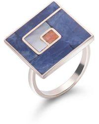 SOLUNA Sterling Silver Mosaic Square Ring - Multicolor
