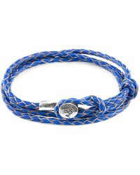 Anchor & Crew - Royal Blue Dundee Silver And Braided Leather Bracelet - Lyst