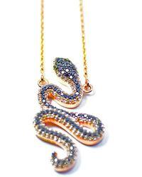 ERAYA 18kt Rose Gold Diamond Snake Necklace - Multicolor