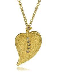 Alex Soldier - 18kt Gold & Champagne Diamond Leaf Pendant - Lyst