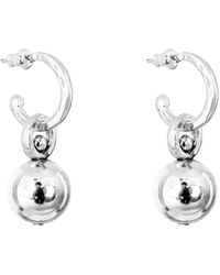 Rock Finders Keepers Sterling Silver & Large Polished Silver Detail Hilton Hoop Earrings - Metallic
