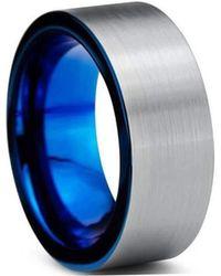 KAVALRI - Custom Round Brushed Metallic And Blue Tungsten Ring - Lyst