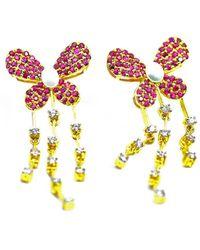 ERAYA 14kt Yellow Gold Vintage Butterfly Ruby Diamond Earrings - Metallic