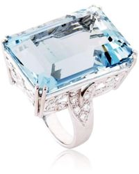 Cherie Thum - Fire And Ice Emerald-cut Aquamarine Ring - Lyst