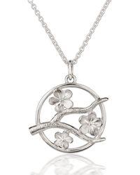 Fiona Kerr Jewellery Silver Cherry Blossom Pendant - Metallic