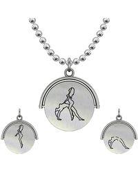 Allumer Sutra 30mm Silver Pendant Necklace - Girl And Girl - The Bridge - Metallic