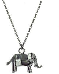 Origami Jewellery - Black Silver Mini Elephant Origami Necklace - Lyst
