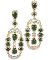 Chavin Couture - 18kt Yellow Gold Diamondand Chrysocolla Earrings - Lyst