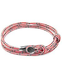 Anchor & Crew - Red Dash Dundee Silver And Rope Bracelet - Lyst
