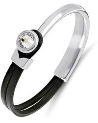 Yan Neo London Poppy Black & Silver Leather Bracelet