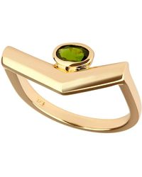 Carolin Stone Jewelry 14kt Yellow Gold Plated Sterling Silver Chrome Diopside Simple Ring - Metallic