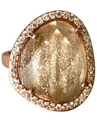Shimmer by Cindy - Rose Gold Plated Abstract Halo Cocktail Ring With Clear Glass Stone - Lyst