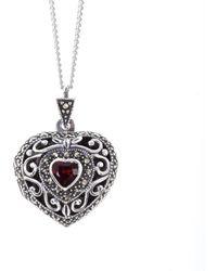 Lily Blanche Vintage Garnet Heart Locket - Multicolor
