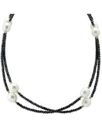 Elisa Ilana Jewelry - Yellow Gold, Pearl & Black Cz Necklace | - Lyst
