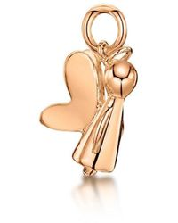 Becky Rowe Rose Gold Guardian Angel Charm | - Metallic