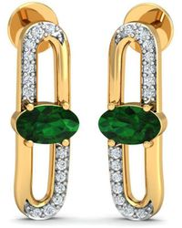 Diamoire Jewels 18kt Yellow Gold 0.13ct Pave Diamond Infinity Earrings With Ruby II axwiT5h2
