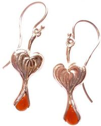 Andrew O Dell Jewellery - Sterling Silver & Garnet Bleeding Heart Drop Earrings - Lyst