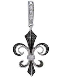 Rhonda Faber Green Designs - Black And White Diamond Fleur De Lis Pendant - Lyst