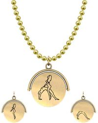 Allumer Sutra 13mm Gold Pendant Necklace - Girl And Boy - The Bridge - Metallic