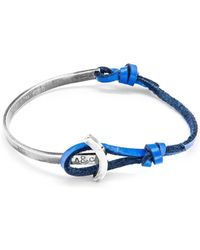 Anchor & Crew - Royal Blue Galleon Silver And Leather Half Bangle - Lyst