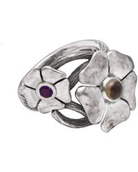 Luke Goldsmith - Silver Bohemian Smoky Quartz & Amethyst Flower Ring - Lyst