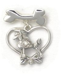 Donna Pizarro Designs Sterling Silver And Diamond Poodle Brooch