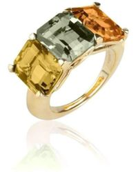 Goshwara - Gossip 3 Stone Lemon Quartz, Prasiolite And Citrine Ring - Lyst