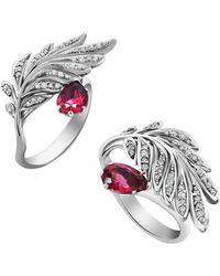 Chekotin Jewellery 18kt White Gold Diamond & Pink Tourmaline Angels Ring   - Multicolour