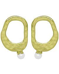 Murkani Jewellery - Gold & White Pearl Riveria Stud Earrings - Lyst