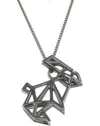 Origami Jewellery - Black Silver Frame Rabbit Origami Necklace - Lyst