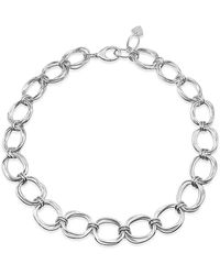 Designs by JAK Sterling Silver Integrity Statement Oval Chain Necklace - Metallic