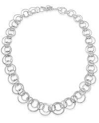 Designs by JAK Sterling Silver Harmony Double Circle Link Statement Necklace - Metallic