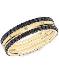 Verifine London 18kt Yellow Gold Xv 3-ring Eternity Stack With Black Diamond - Metallic