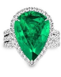 MARCELLO RICCIO Emerald Diamond Ring - Pear - Uk D - Us 2 - Eu 41.5 - Green