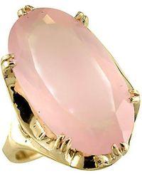 London Road Jewellery 9kt Yellow Gold Designer Rose Quartz Cocktail Ring - Uk J - Us 4.75 - Eu 48.7 - Multicolor