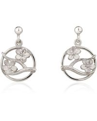 Fiona Kerr Jewellery Silver Cherry Blossom Drop Earrings - Metallic