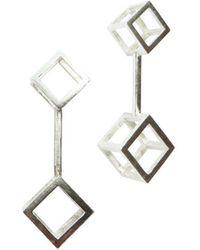 Stephanie Bates - Double Cube Drop Earrings Long - Lyst