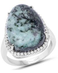 Olivia Leone Rhodium Plated Silver Solitaire Green Jasper Ring - Multicolour
