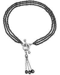 London Road Jewellery Exclusive 3 Row Black Diamond Bracelet With Tassel