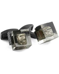 Tateossian Gunmetal & Pyrite In Resin Cufflinks - Multicolor