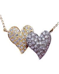 Daou Jewellery - Touching Full Hearts Diamond Gold Pendant - Lyst