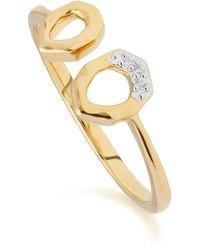 Gemondo Jewellery - 9kt Yellow Gold Diamond Asymmetric Open Ring - Lyst